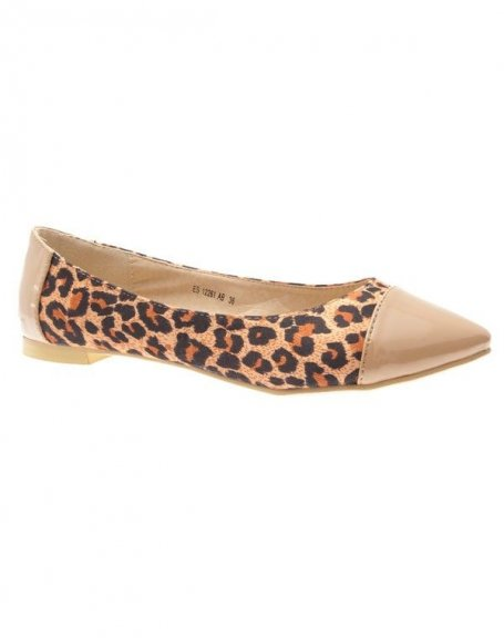 Chaussures femme Raxmax: Ballerines pointues léopards abricot