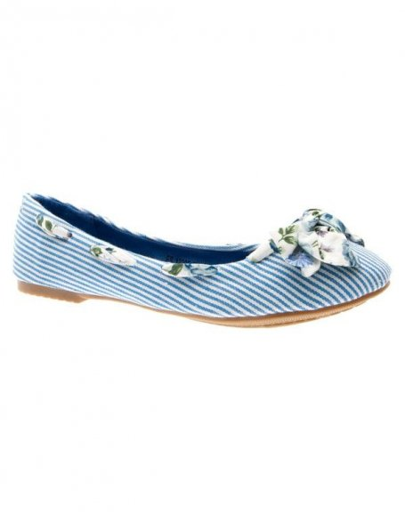 Chaussures femme Raxmax: Ballerines rayées et fleuries bleues
