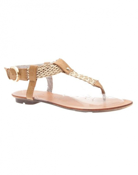 Chaussures femme Raxmax: Sandales à lanières tressées abricot
