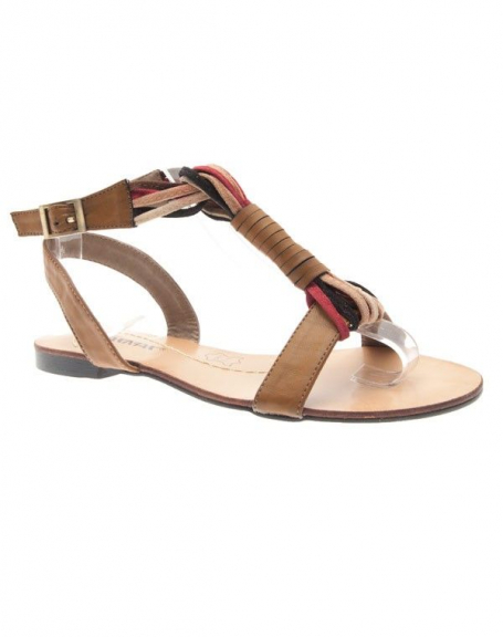 Chaussures femme Raxmax: Sandales style ethnique camel