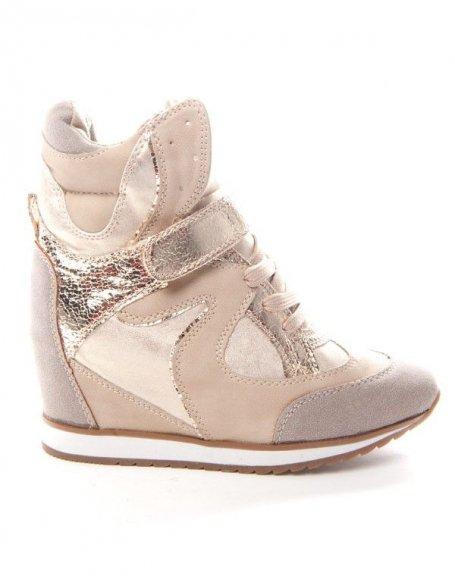 Chaussures femme Sinly: Basket compensée - beige