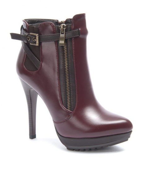 Chaussures femme Sinly: Botte à talon bordeaux