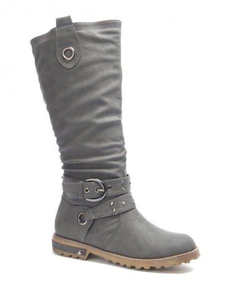 Chaussures femme Sinly: Botte clouté gris