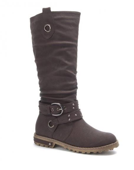 Chaussures femme Sinly: Botte clouté marron