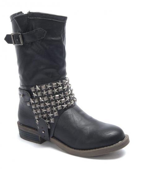 Chaussures femme Sinly: Botte clouté noire