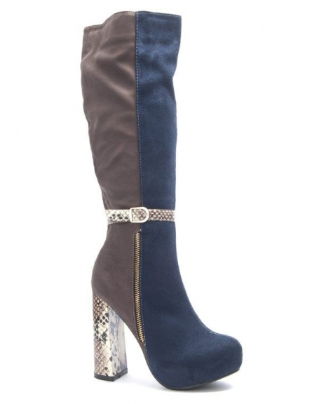 Chaussures femme Sinly: Botte effet serpent bleue
