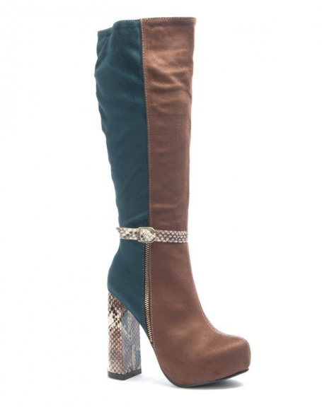 Chaussures femme Sinly: Botte effet serpent camel