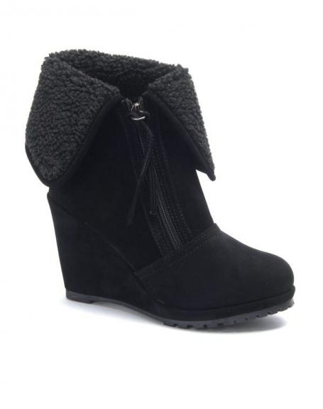 Chaussures femme Sinly: Bottes compensés noire