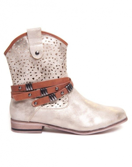 Chaussures femme Sinly: Bottine or avec chaine