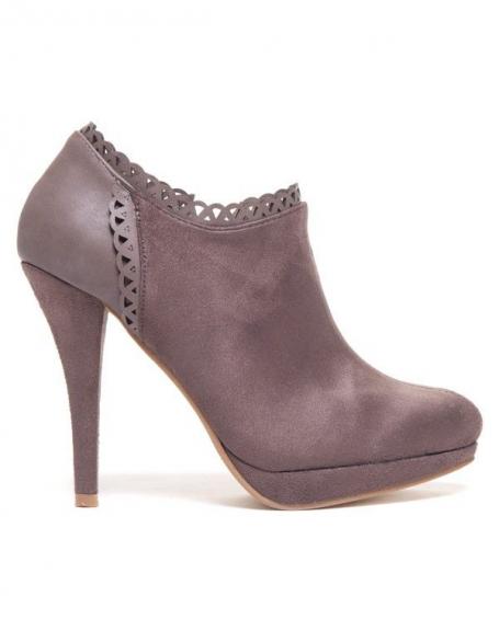 Chaussures femme Sinly: Bottines taupe à talon