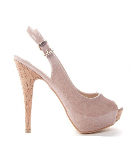 Chaussures femme Sinly: Escarpin ouvert - beige