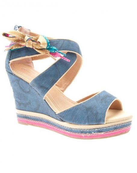Chaussures femme Sinly Shoes: Escarpins compensés jean bleus
