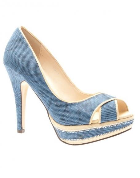 Chaussures femme Sinly Shoes: Escarpins ouverts à brides bleus