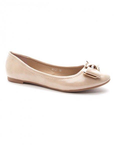 Chaussures femme Style Shoes: Ballerine noeud dorée - beige