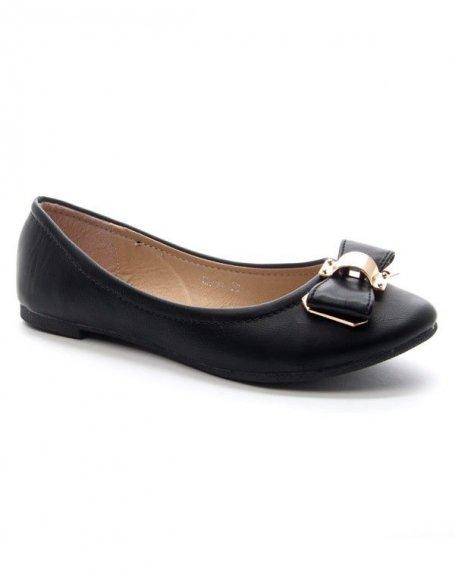 Chaussures femme Style Shoes: Ballerine noeud dorée - noir