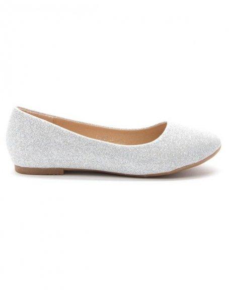Chaussures femme Style Shoes: Ballerine pailletée argent