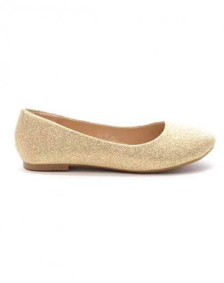 Chaussures femme Style Shoes: Ballerine pailletée or