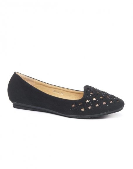 Chaussures femme Style Shoes: Ballerines à strass noire