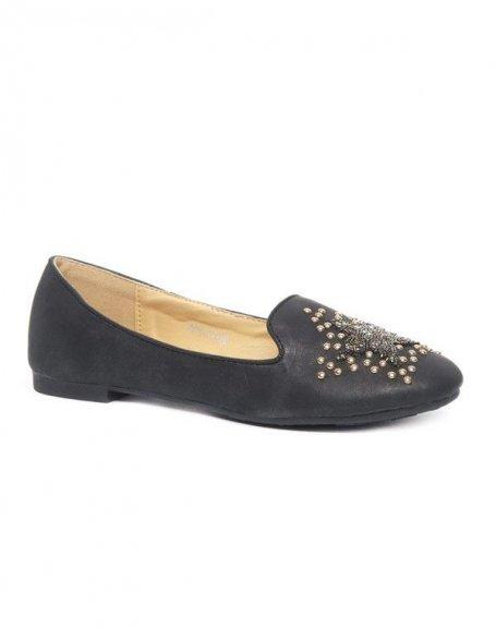 Chaussures femme Style Shoes: Ballerines slipper à clous/perles en étoile noire