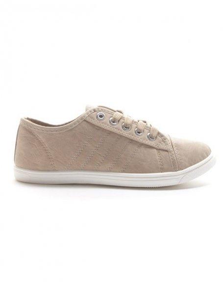 chaussures femme style shoes basket basse beige. Black Bedroom Furniture Sets. Home Design Ideas