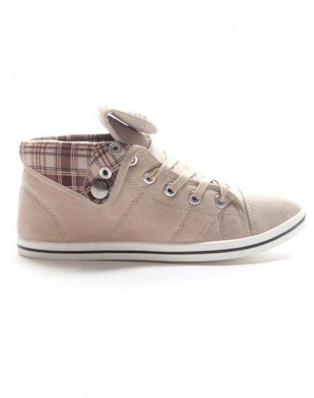 chaussures femme style shoes basket mi montante beige. Black Bedroom Furniture Sets. Home Design Ideas