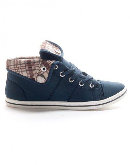 Chaussures femme Style Shoes: Basket mi montante bleu