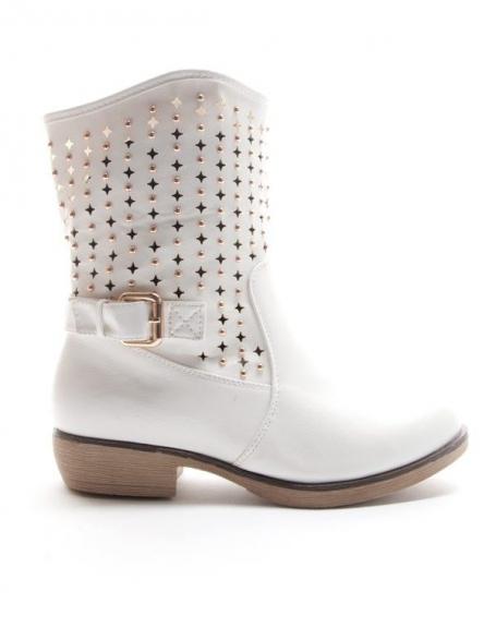 Chaussures femme Style Shoes: Botte perforée - blanc