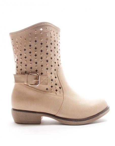 Chaussures femme Style Shoes: Botte perforée - camel clair
