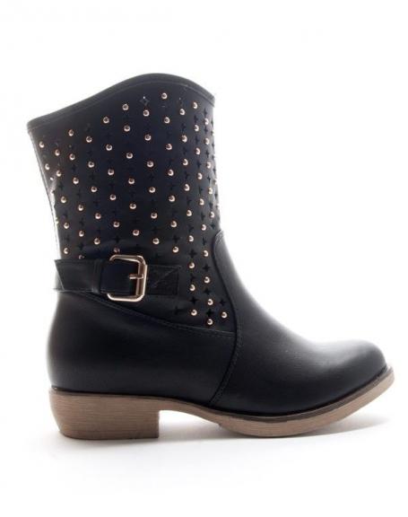 Chaussures femme Style Shoes: Botte perforée - noir