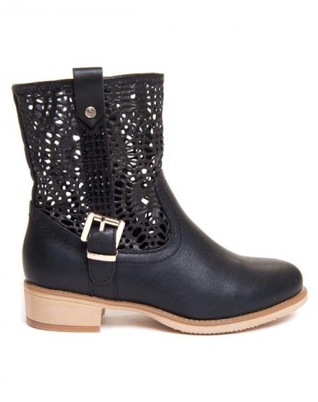 Chaussures femme Style Shoes: Bottine noire perforées