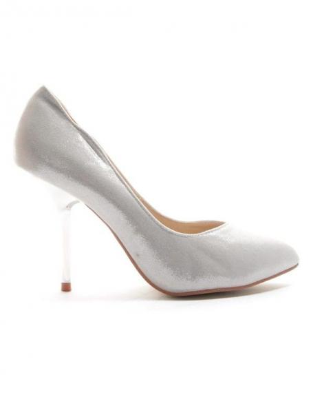 Chaussures femme Style Shoes: Escarpin brillant - argent