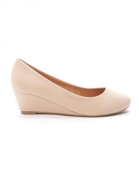 Chaussures femme Style Shoes: Escarpin compensée beige