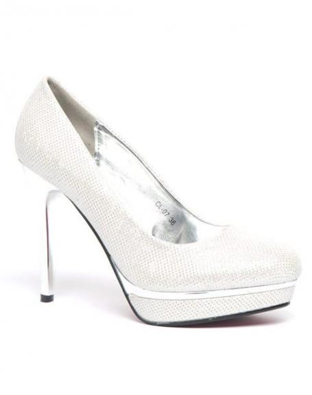 Chaussures femme Style Shoes: Escarpin pailleté blanc