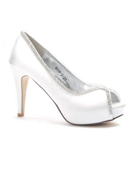 Chaussures femme Style Shoes: Escarpins à strass blanc