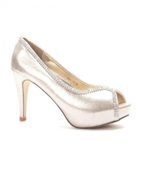 Chaussures femme Style Shoes: Escarpins à strass or