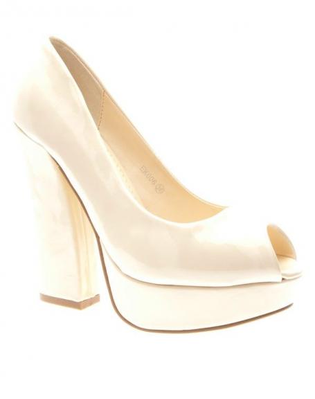 Chaussures femme Style Shoes: Escarpins ouverts vernis beiges