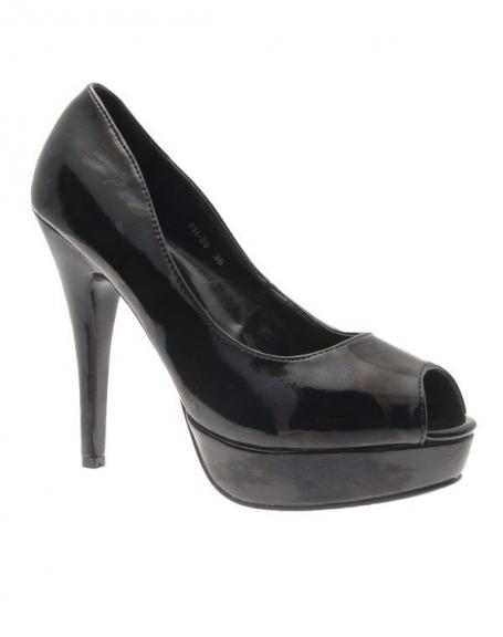 Chaussures femme Style Shoes: Escarpins ouverts vernis noirs