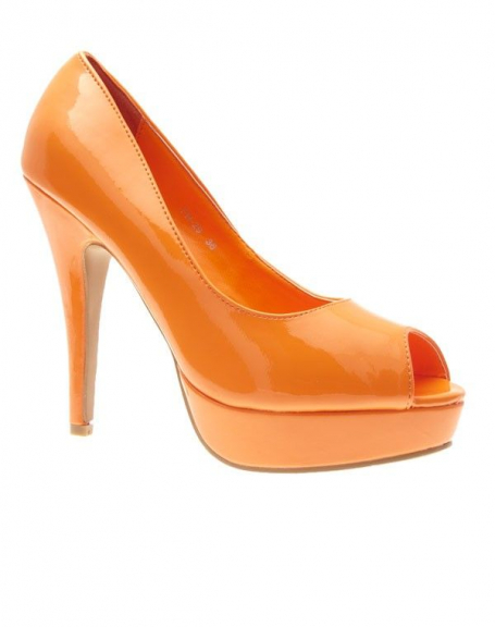 Chaussures femme Style Shoes: Escarpins ouverts vernis oranges