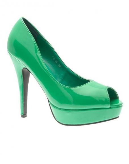 Chaussures femme Style Shoes: Escarpins ouverts vernis vert