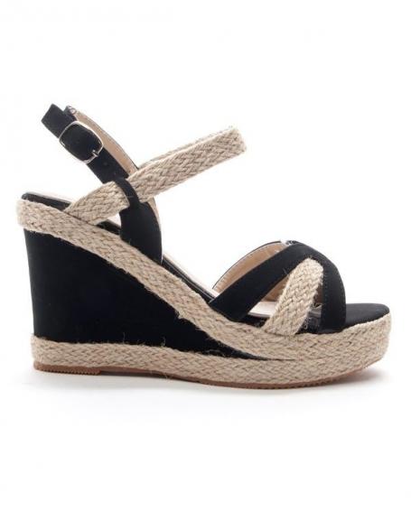 chaussures femme style shoes sandale compens e noir. Black Bedroom Furniture Sets. Home Design Ideas