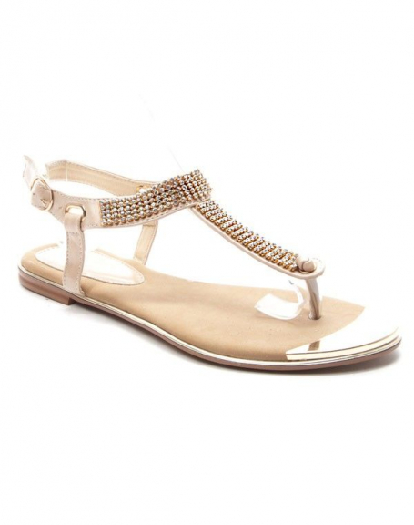 Chaussures femme Style Shoes: Sandales à strasses - beige