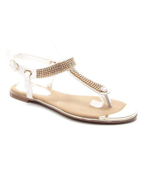 Chaussures femme Style Shoes: Sandales à strasses - blanc