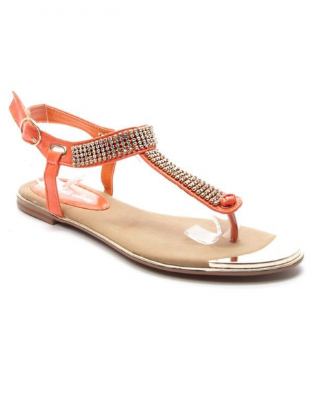 Chaussures femme Style Shoes: Sandales à strasses - corail