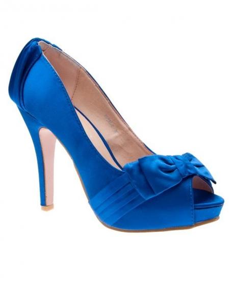 Chaussures femme Sunrise C: Escarpin satiné bleu