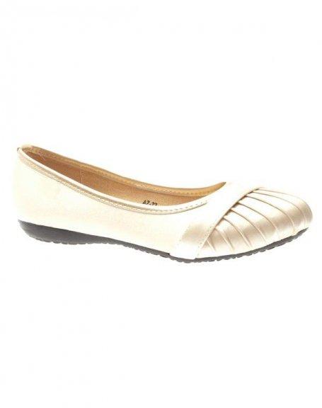 Chaussures femme Suredelle: Ballerines satinées beiges