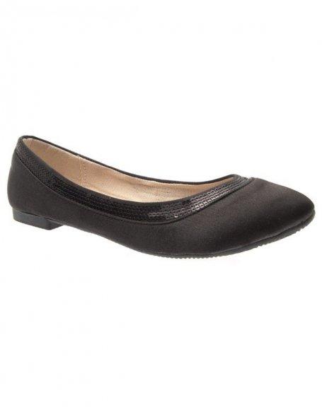 Chaussures femme Suredelle: Ballerines satinées noires