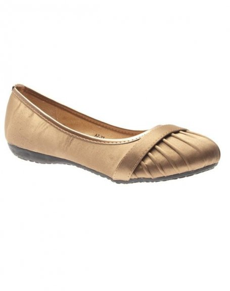 Chaussures femme Suredelle: Ballerines satinées taupe