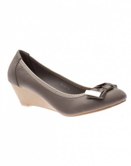 Chaussures femme Suredelle: Escarpins compensés gris