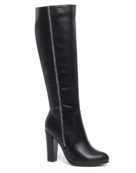Chaussures femmes Jennika: Bottes noires à talons et strass