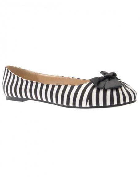 Chaussures femmes Raxmax: Ballerines rayées noir/blanc